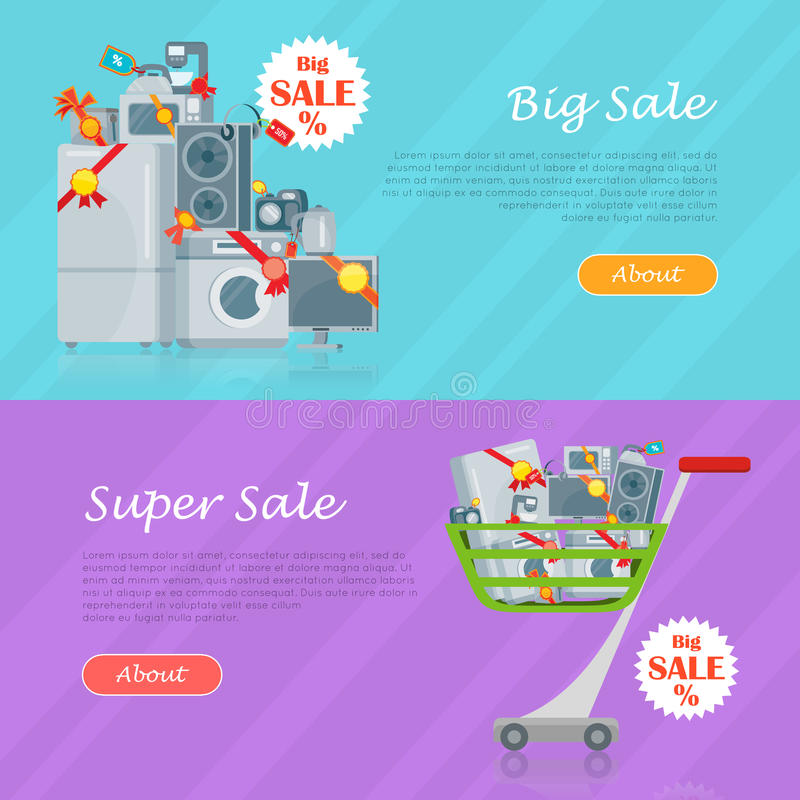 Sale in electronics store web banners set home appliances with discounts stickers on floor and in shopping trolley flat vector illustrations