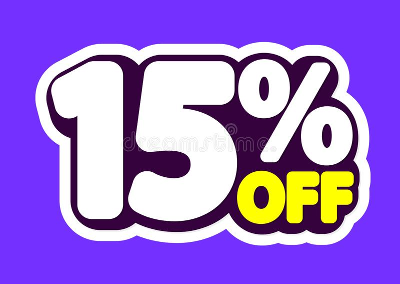 Sale etikett, 15% av, isolerad klistermärke, affischdesignmall, rabattbaner, vektorillustration stock illustrationer