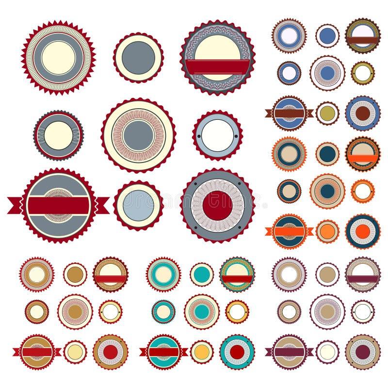 Sale etiketter med guillochebeståndsdelar i olika färger vektor illustrationer