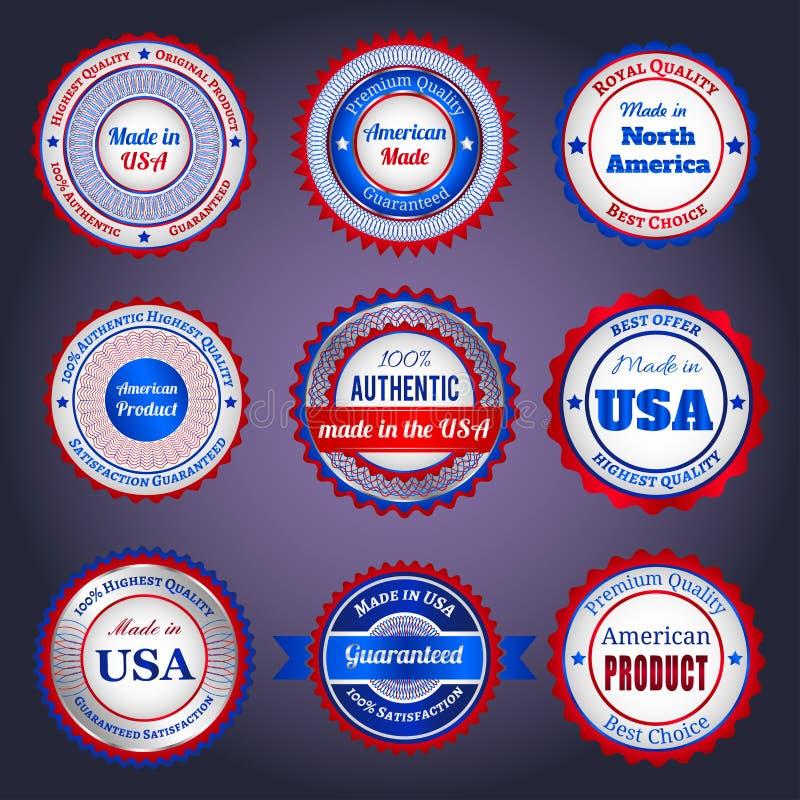 Sale etiketter och klistermärkear på Made i USA royaltyfri illustrationer