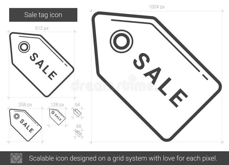 Sale etikettslinje symbol stock illustrationer