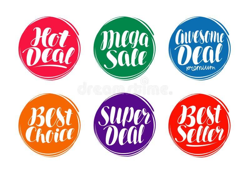 Sale etikettuppsättning Varmt avtal, bästa val, säljaresymbol eller symbol Handskriven bokstäver, kalligrafivektorillustration vektor illustrationer