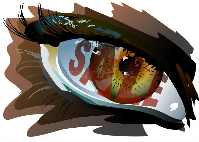 Sale in the eye. A dazed look from sale. Additional format: made in CorelDRAW X13. Color settings: Tools/color management/Optimized for the Web royalty free illustration