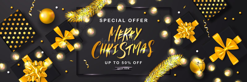 Sale för glad jul affisch med glitter, gåvaaskar, julbollar och skinande slingrande också vektor för coreldrawillustration Design vektor illustrationer
