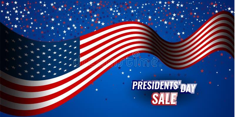 Sale för president`-dag baner med amerikanska flaggan- och stjärnabakgrund vektor illustrationer