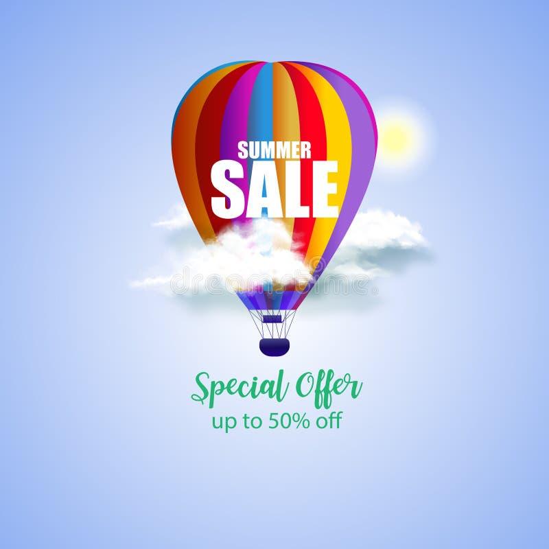Sale för sommar 3D begrepp med ballongen för varm luft i blå himmel också vektor för coreldrawillustration vektor illustrationer