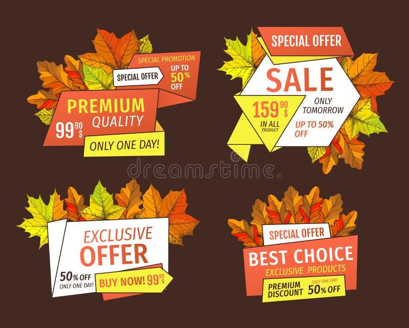 Sale för specialt erbjudande baner med mega rabatter royaltyfri illustrationer