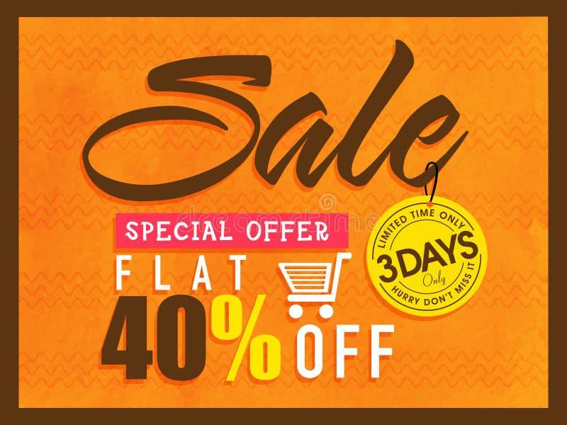 Sale för specialt erbjudande reklamblad, affisch eller baner royaltyfri illustrationer