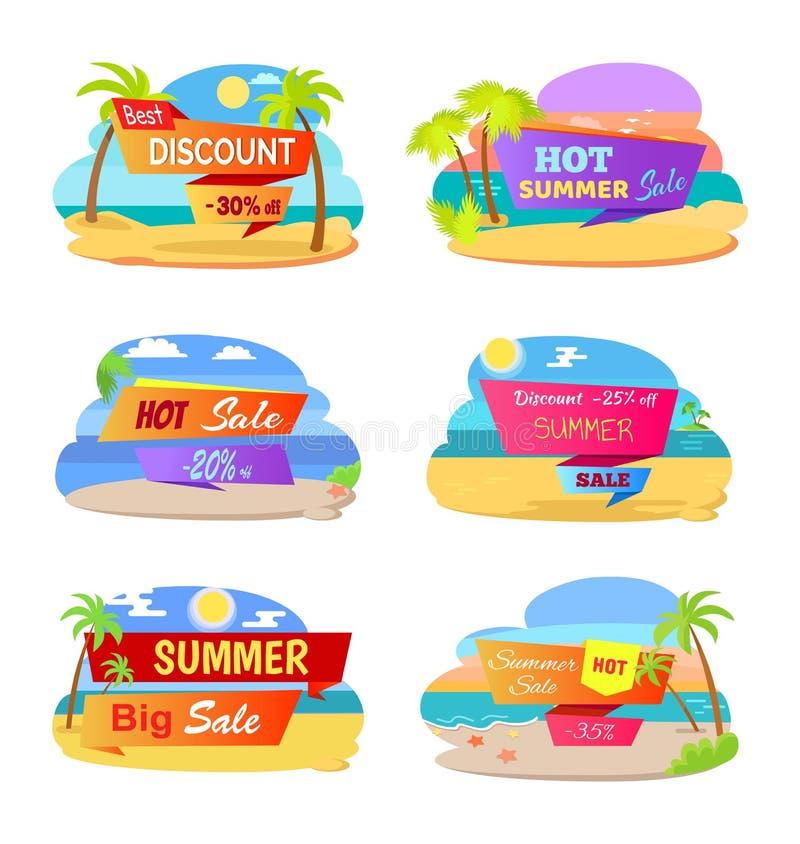 Sale för varm sommar befordrings- klistermärkear med stranden stock illustrationer