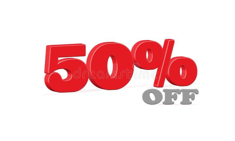 50% Sale, femtio procent av rabatten, röd text som 3D isoleras på vit bakgrund, vektor royaltyfri illustrationer