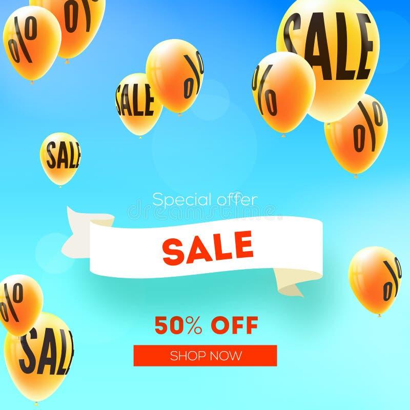 Sale femtio procent rabatt Gula ballonger som flyger i blå himmel med tecknet av procent Annons av försäljningshandlingar Vektor  royaltyfri illustrationer
