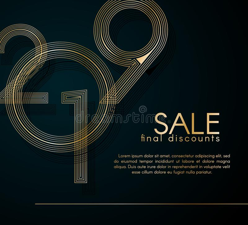 Sale final discounts 2019 Gold lines on a dark background Creative element for design luxury promo cards advertising for 2019 sale royalty free illustration