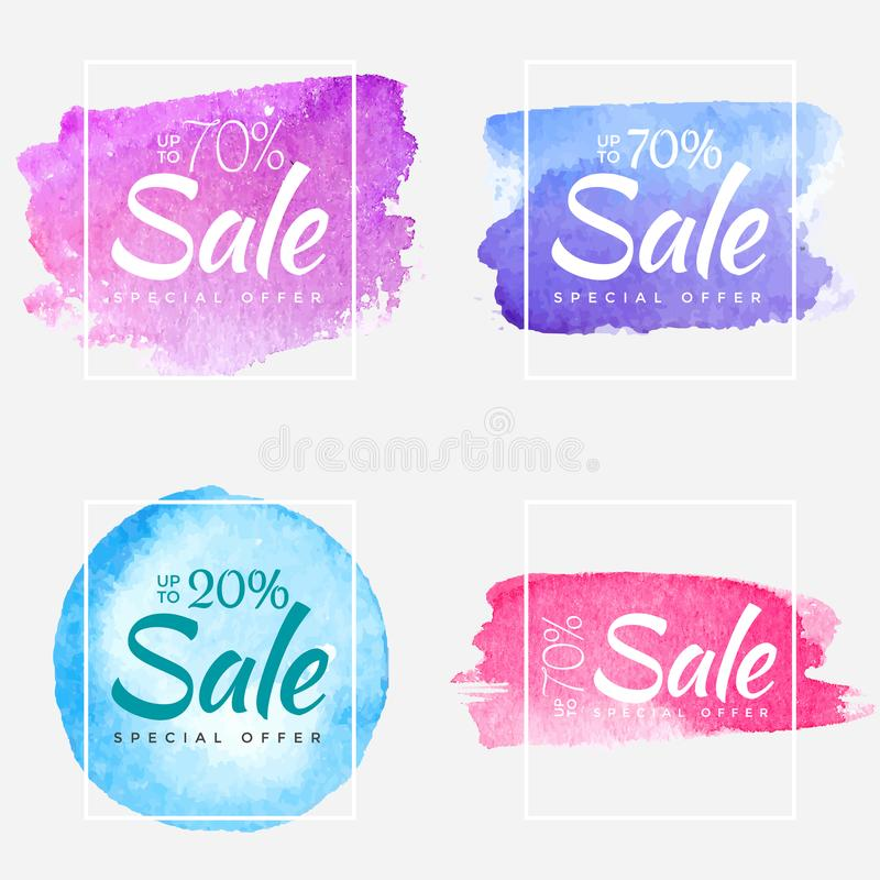 Sale final up to 70 off watercolor sign over art brush paint abstract texture background poster vector illustration stock illustration