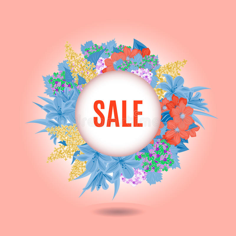 Sale and flowers royalty free stock images