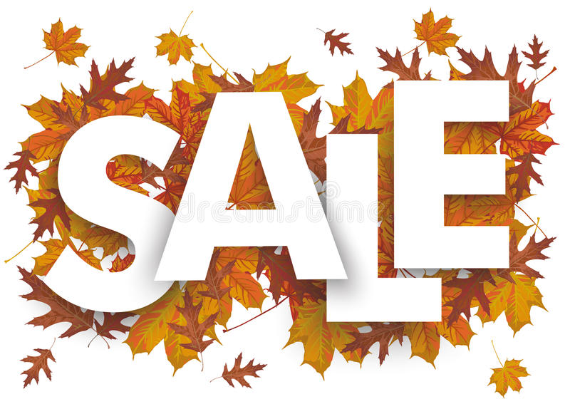 Sale Foliage. Sale letters with foliage on the white background royalty free illustration