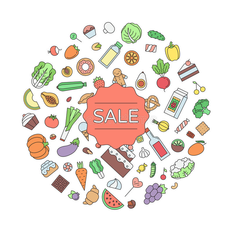 Sale food and drink circle outline illustration. vector illustration