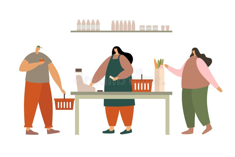 Woman cashier at the cash register and young people with purchases. Sale of goods in the supermarket. Buyers in the retail store. Vector illustration in flat vector illustration