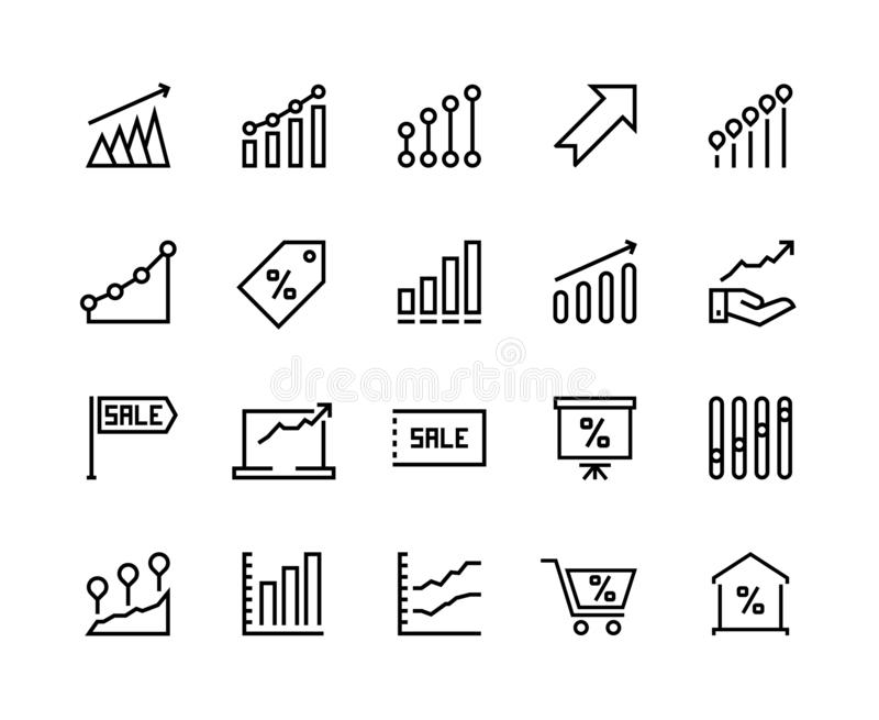 Sale graph line icons. Marketing business progress, dollar chart arrow up, money growth graphic. Vector business sale. Thin pictograms vector illustration