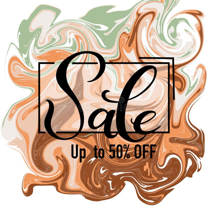 Sale hand drawn lettering with vector abstract background stock illustration