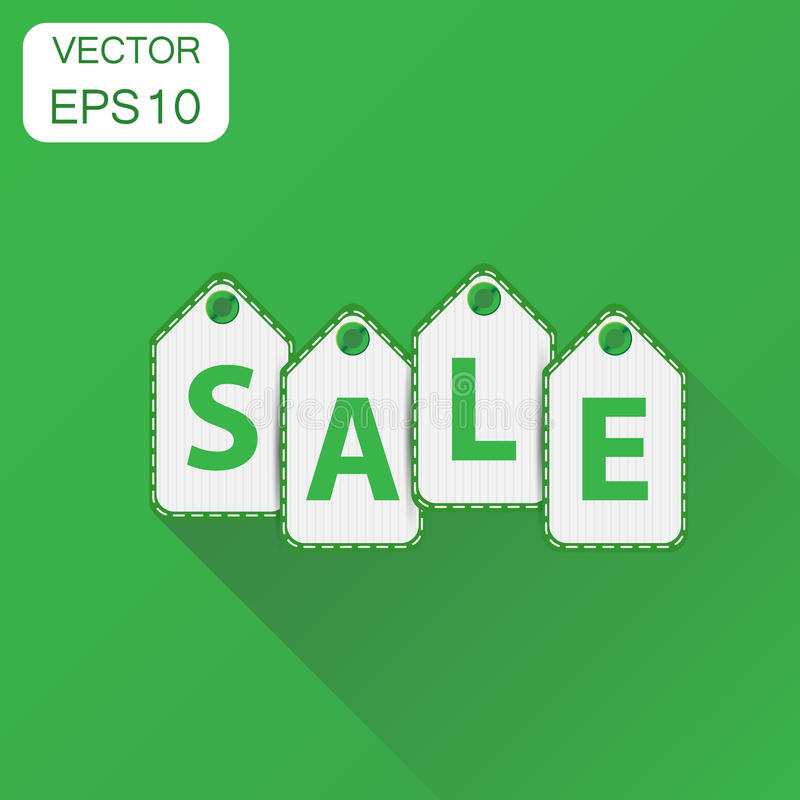 Sale hanging price tag icon. Business concept sale pictogram. Vector illustration on green background with long shadow. vector illustration