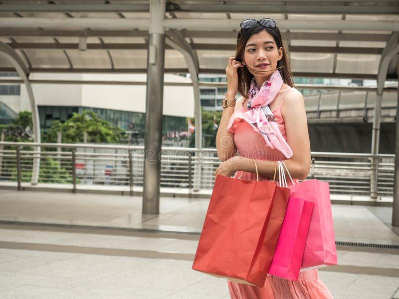 Sale, Happy shopper woman with shopping bags. Shopping concept royalty free stock image