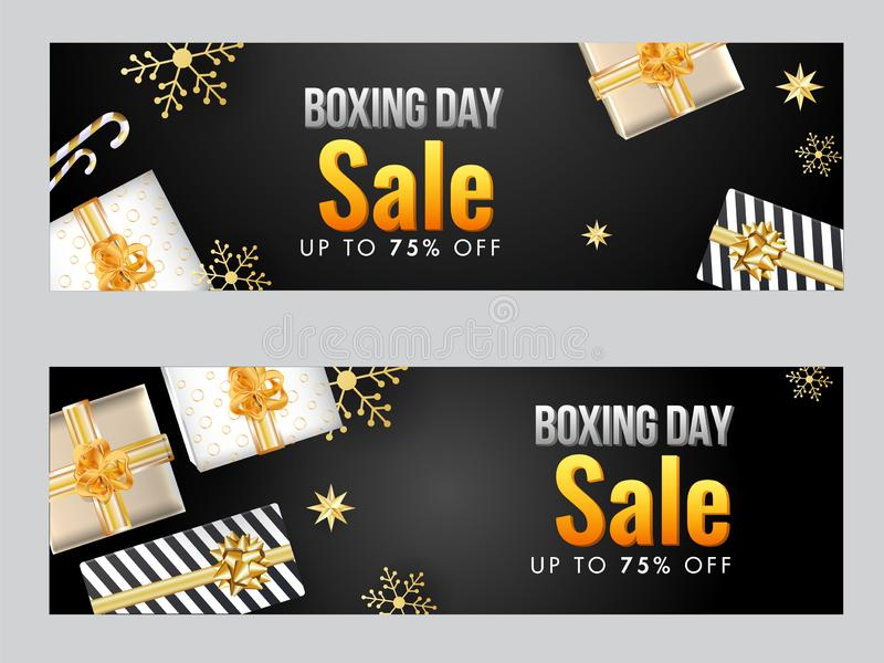 Sale header or banner design with top view of gift boxes, snowflake, star and 75% discount offer for Boxing Day royalty free illustration