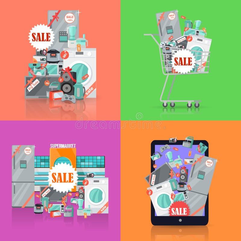 Sale i uppsättning för begrepp för elektroniklagervektor stock illustrationer