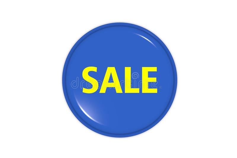 Sale icon in blue color on white background royalty free stock photography