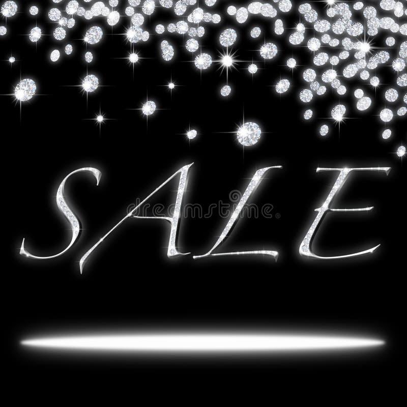Sale icon with falling diamonds stock illustration