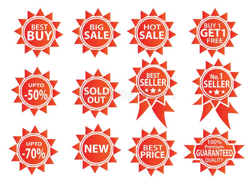 12 sale icon set item stock illustration