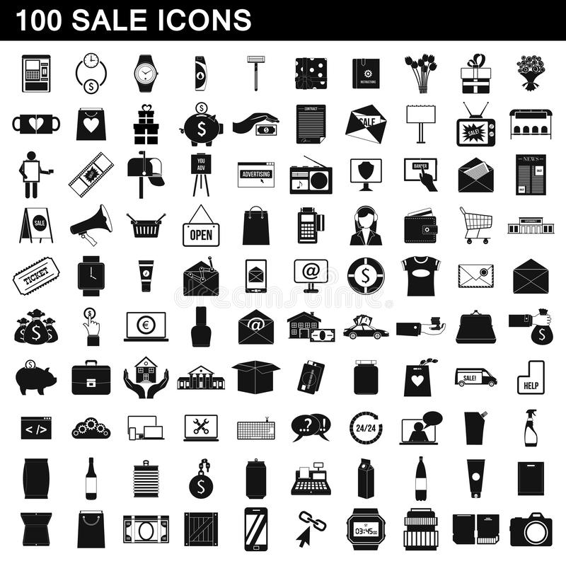 100 sale icons set, simple style stock illustration