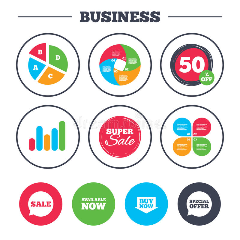 Sale icons. Special offer speech bubbles symbols. Business pie chart. Growth graph. Sale icons. Special offer speech bubbles symbols. Buy now arrow shopping vector illustration