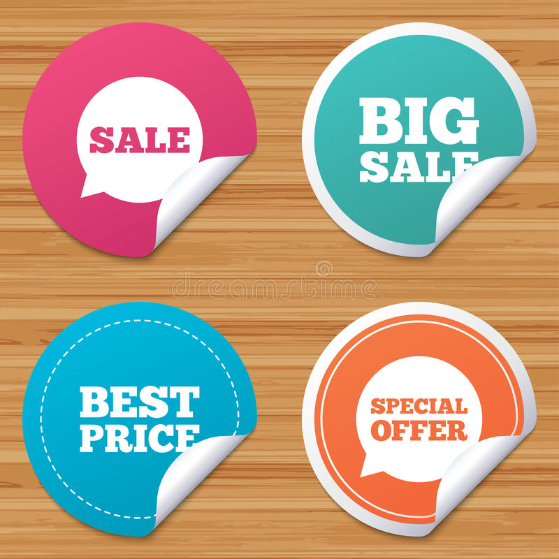 Sale icons. Special offer speech bubbles symbols. Round stickers or website banners. Sale icons. Special offer speech bubbles symbols. Big sale and best price royalty free illustration