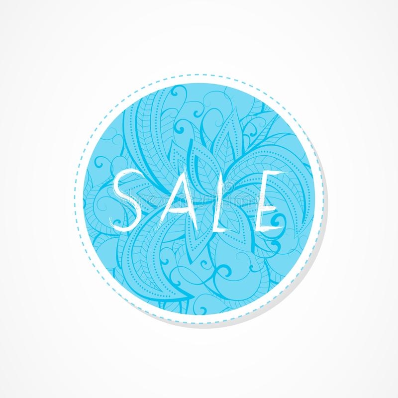 Sale inscription on decorative round backgrounds with floral pattern. Hand drawn lettering. Vector illustration vector illustration