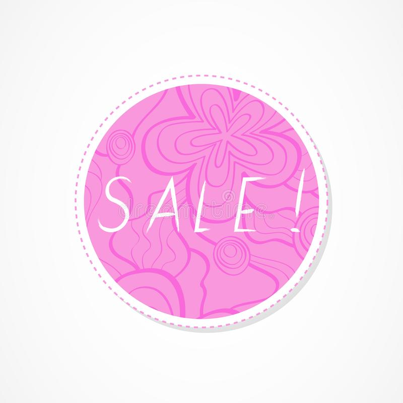 Sale inscription on decorative round backgrounds with floral pattern. Hand drawn lettering. Vector illustration royalty free illustration