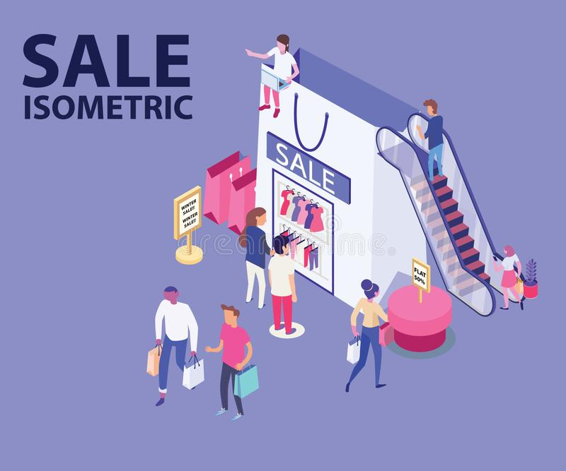 Sale Isometric Artwork of people Shopping fashion/Clothes from a shopping bag. Isometric Artwork of people shopping, Where the shop is made out of a shopping bag vector illustration