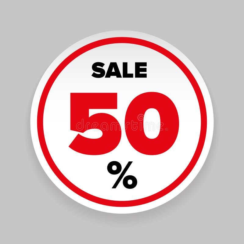 Sale klistermärke femtio procent royaltyfri illustrationer