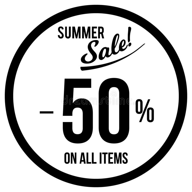 50% Sale klistermärkemall royaltyfri illustrationer