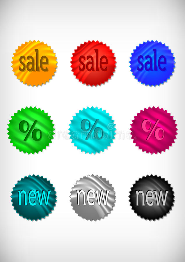 Download Sale klistermärkesamling vektor illustrationer. Illustration av baner - 37346423