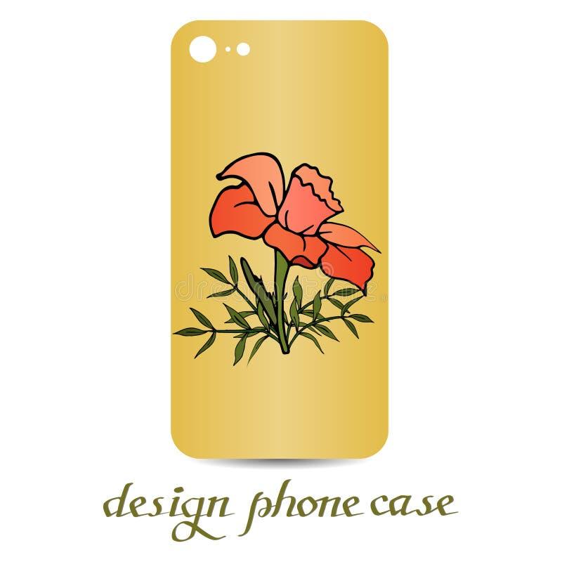 Sale kort, för elementsDesigntelefon för botanisk vektor naturligt fall Dekorerade telefonfall är blom- dekorativ elementtappning royaltyfri illustrationer