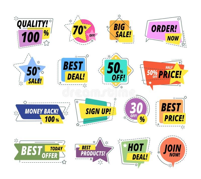 Sale kvalitets- emblem Försäkrat etikettemblem Knapp för leverans för pris för Promoklistermärke exklusiv högvärdig bästa Stort s royaltyfri illustrationer