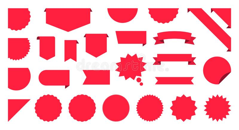 Sale Label collection set. Sale tags. Discount red ribbons, banners and icons. Shopping Tags. Sale icons. Red isolated on white vector illustration