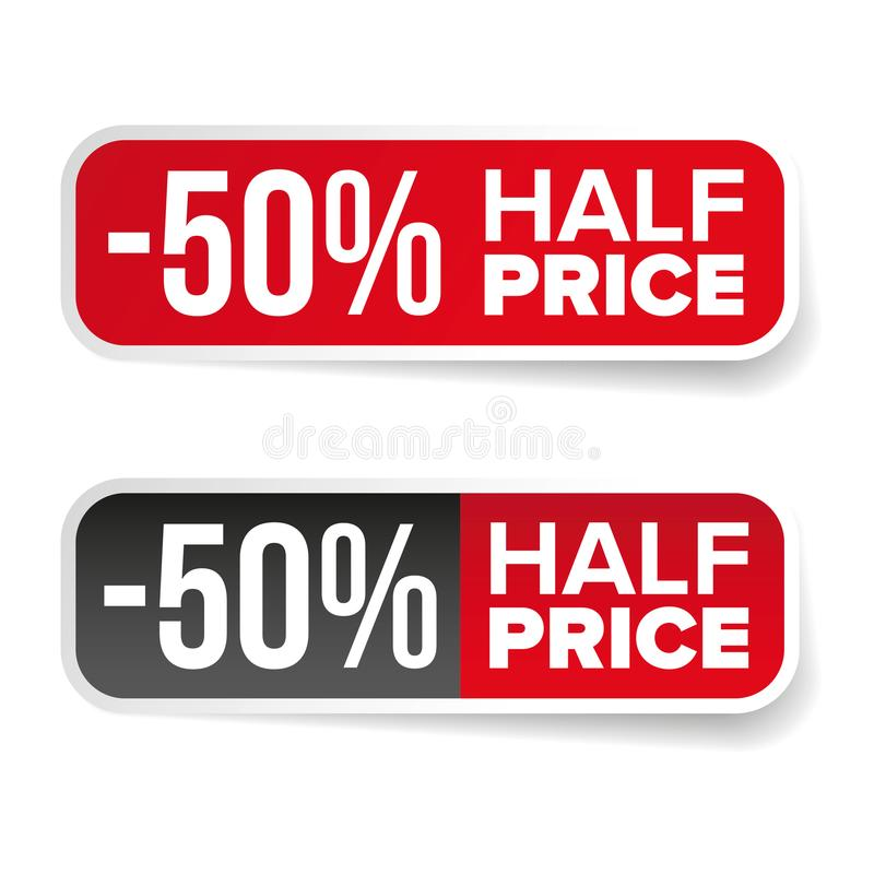 Sale label half price sticker royalty free illustration