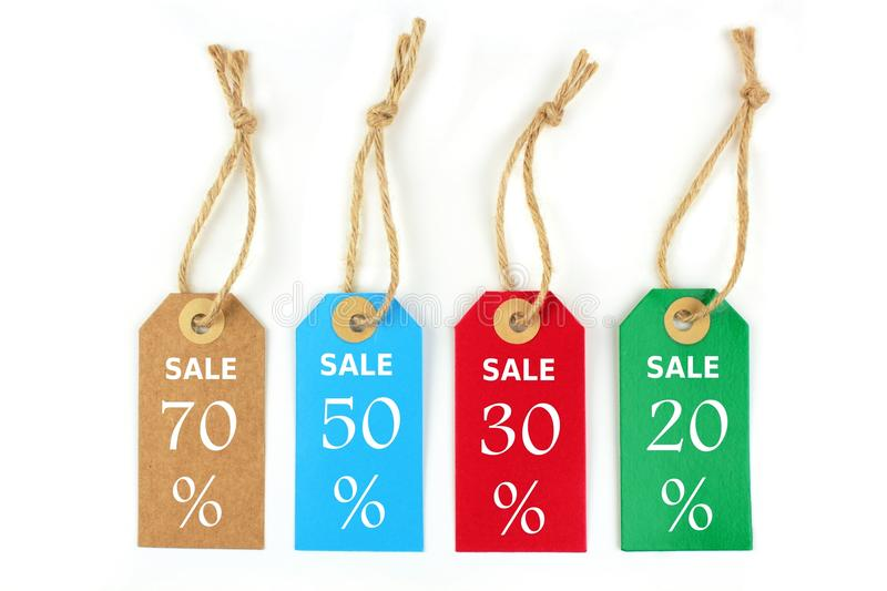 Sale labels 70%, 50%,30%,20%. Isolated on white background stock image
