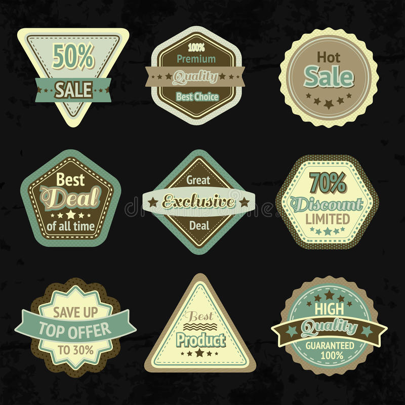 Sale labels and badges design set. For best price high quality and exclusive deal isolated vector illustration royalty free illustration