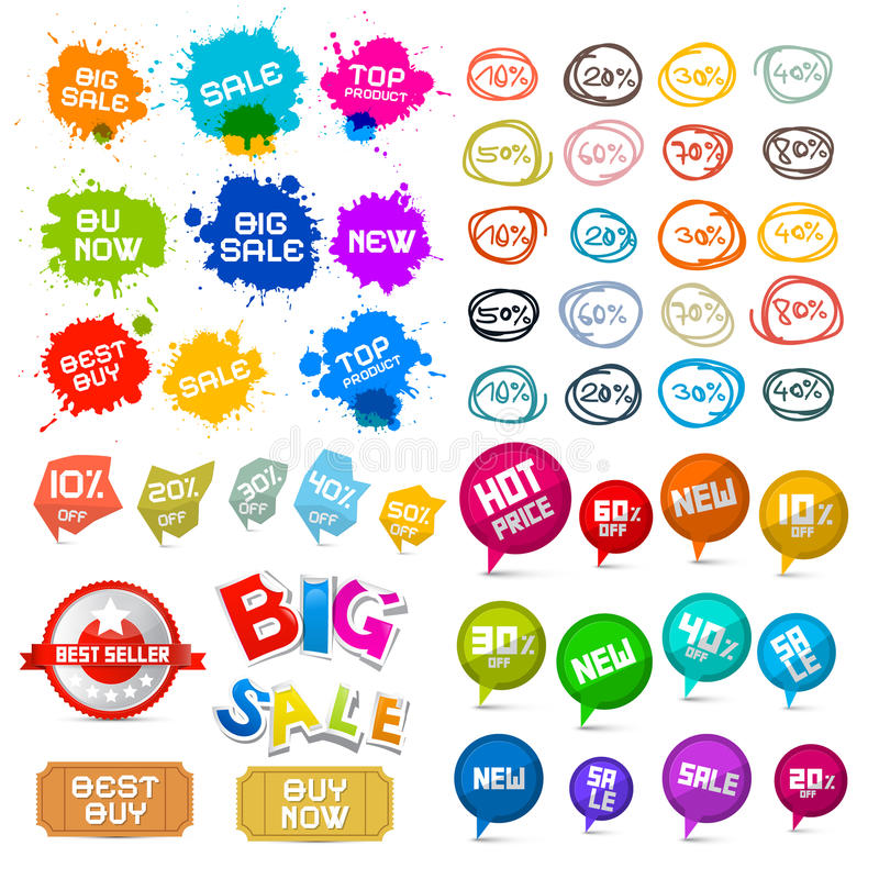 Sale Labels Set. Vector Tags stock illustration