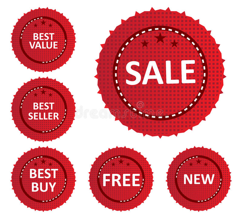 Sale Labels And Stickers. Vector illustration of SALE related labels and stickers on red color circular design stock illustration
