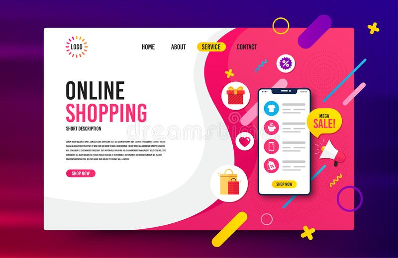 Sale landing page vector template. Web design for online shopping, digital marketing. stock illustration