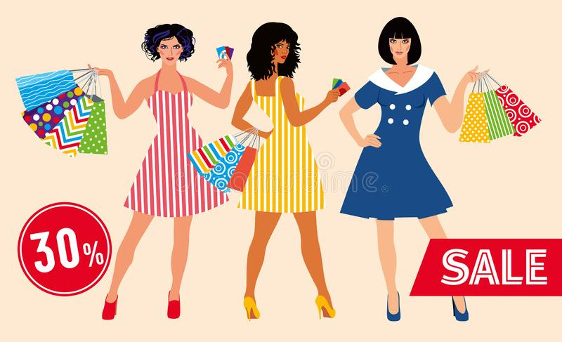 Sale layout. Beautiful girls in colorful dresses with many shopping bags vector illustration