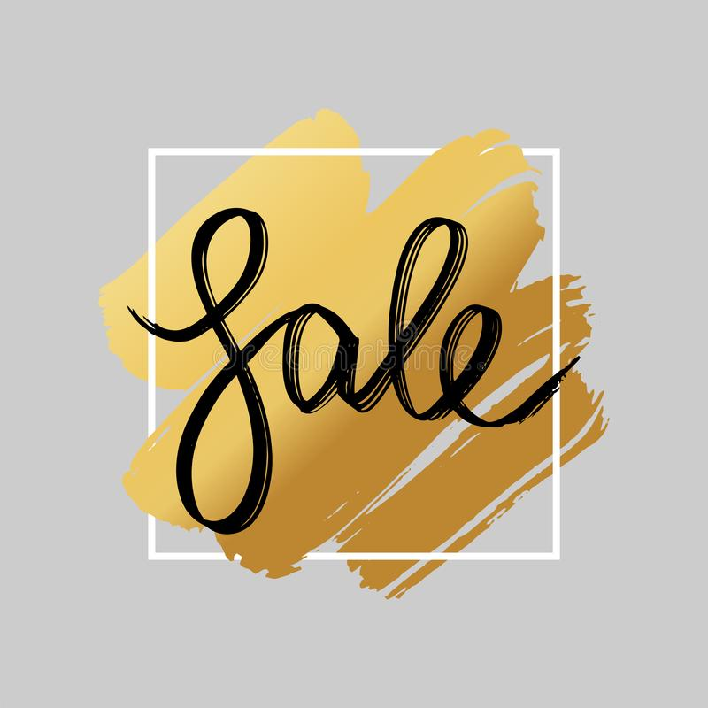 Sale lettering banner with hand drawn golden background. Gold brush stroke over square frame. stock illustration